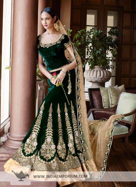 Bottle Green Modish Velvet Lehenga Choli #Lehenga #Velvet #Ethnicwear #Partywear #Indiaemporium