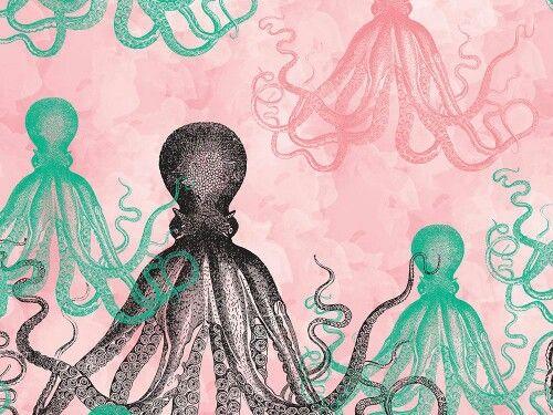 """Śliczna grafika z katalogu """"Zwierzęta"""" - Ośmiornice różowe  http://cottonbee.pl/tkaniny/zwierzeta/6141-osmiornice-rozowe.html"""