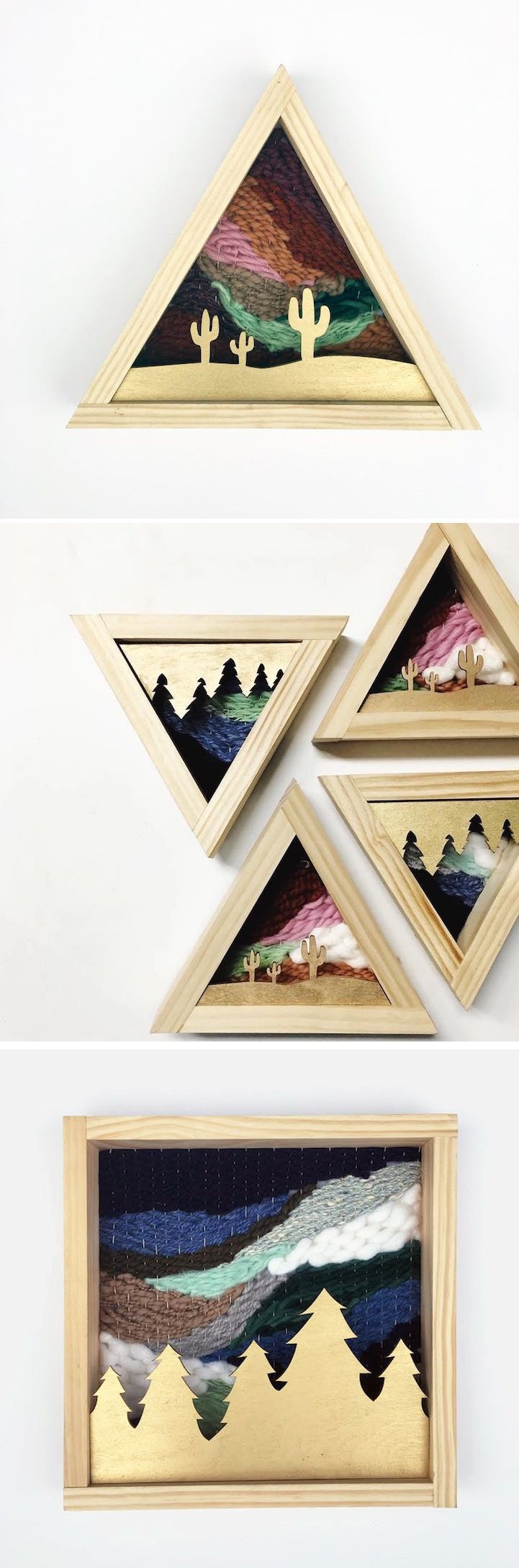 Savannah Teel of Savvie Studio creates small original wall hangings that speak to the beauty of nature, from the forests to the desert.