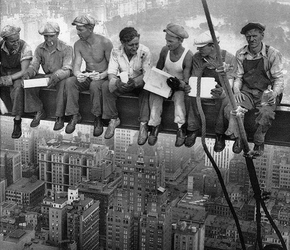 1932 RCA Construction Workers on Break. City view, males, men, caps, photo b/w, history.