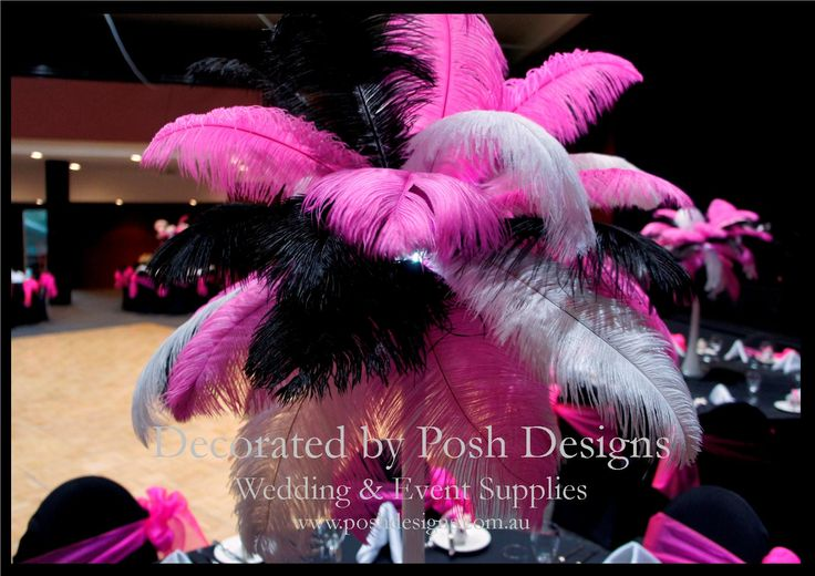 #Pink feather table centre - #wedding and #event #theming available at #poshdesignsweddings - #sydneyweddings #countryweddings #southcoastweddings #wollongongweddings #ruffledsashes #weddingsashes All stock owned by Posh Designs Wedding & Event Supplies – lisa@poshdesigns.com.au or visit www.poshdesigns.com.au or www.facebook.com/.poshdesigns.com.au #Wedding #reception #decorations #Outdoor #ceremony decorations #Corporate #event decoration #Fundraising event decoration #School #graduations