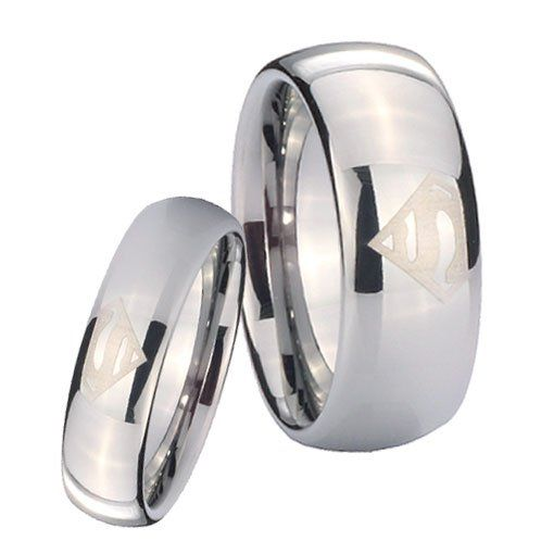 His and Hers 2pcs Tungsten Carbide Superman Classic Dome Ring Set Size 4 to 13