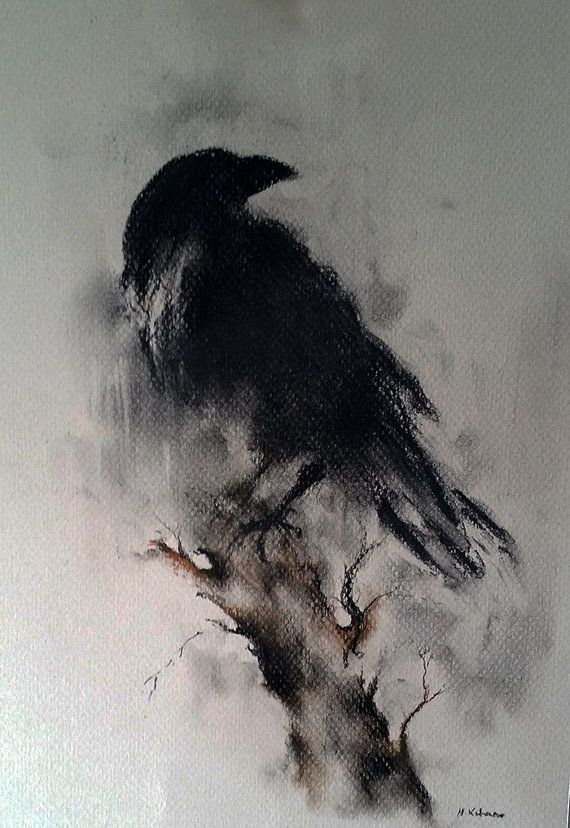 Original Raven Drawing Charcoal Black and White Art Halloween Gothic Crow on a Branch 12x8""
