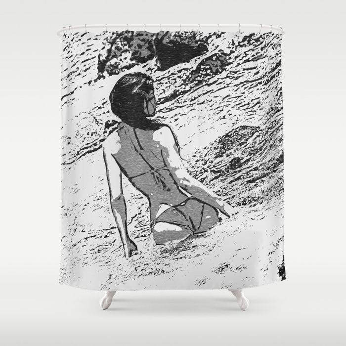 Sexy at the Beach, perfect shapes bikini girl bathing in bay Customize your bathroom decor with unique shower curtains designed by artists around the world. Made from 100% polyester our designer shower curtains are printed in the USA and feature a 12 button-hole top for simple hanging. The easy care material allows for machine wash and dry maintenance. Curtain rod, shower curtain liner and hooks not included. Dimensions are 71in. by 74in. #society6 #shower #curtains #bathroom