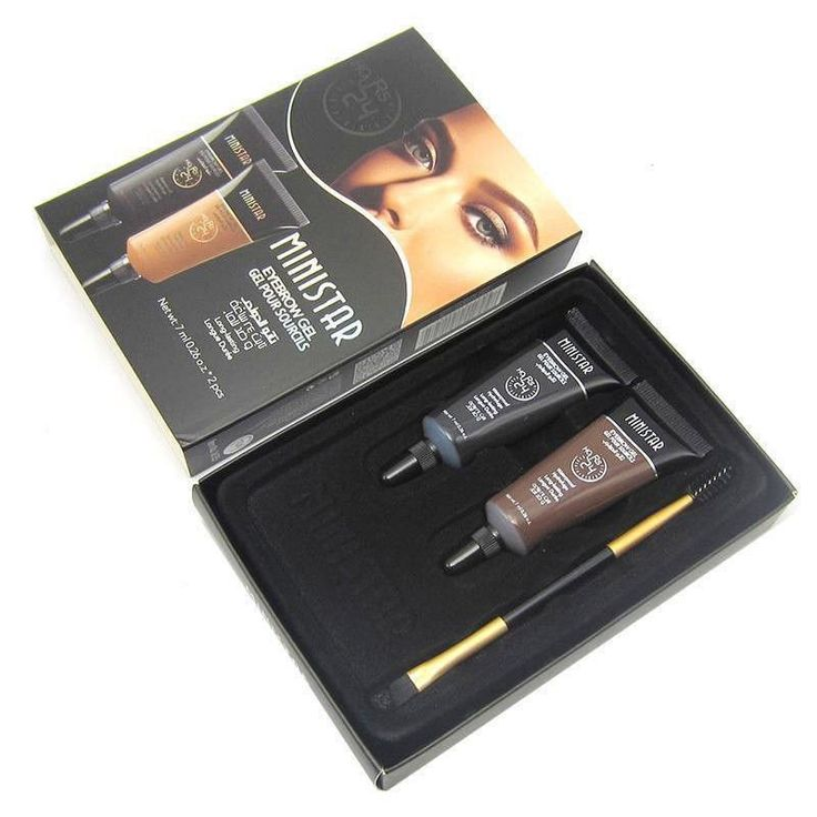 2PCS Brown Long Lasting Tint Eyebrow Henna   Eyebrows Paint Brush
