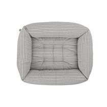 Bolster Dog Bed Powder Grey Stripe Medium - Mungo & Maud Dog and Cat Outfitters