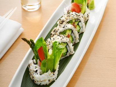 Iron Chef Morimoto's Vegetable Sushi from #FNMag!Food Network, Sushi Recipes, Make Sushi, Vegetables Sushi, Masaharu Morimoto, Sushi Rolls, Japanese Rice, Healthy Lunches, Veggies Sushi