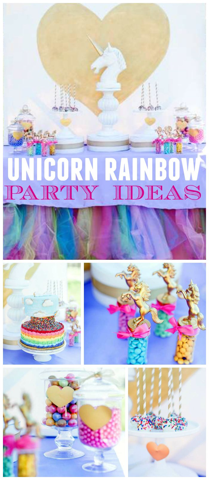 You have to see this gorgeous party with unicorns, hearts, and rainbows! See more party ideas at CatchMyParty.com!