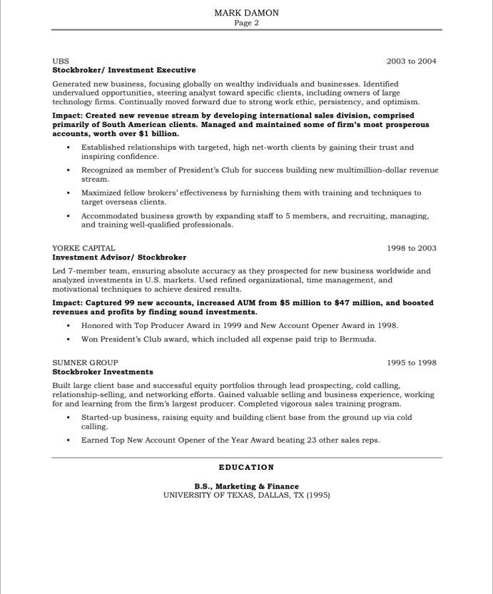 example of sales resume