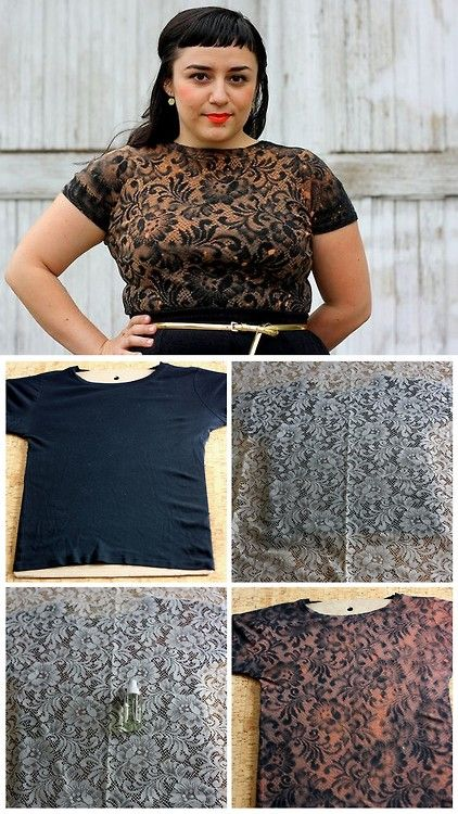 DIY Bleach Lace Shirt from Manzanita.She commented that she'd tape down the lace next time for a cleaner image.*For anyone selling b...