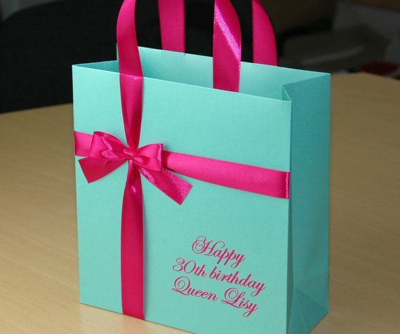 Birthday Gift Bags With Satin Ribbon Bow Custom Name