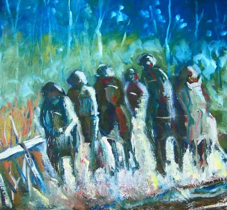 """""""The Hoops Charge Home - Country Racing VIC (framed)"""" by Margaret Morgan (Watkins). Paintings for Sale. Bluethumb - Online Art Gallery"""