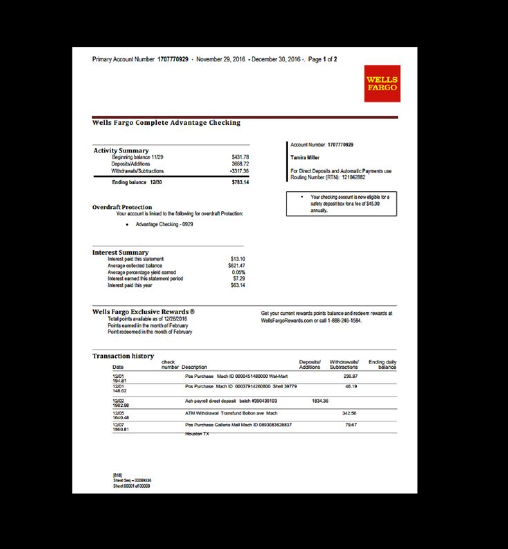 Bank Statement Wells Fargo Template Fake Custom Printable