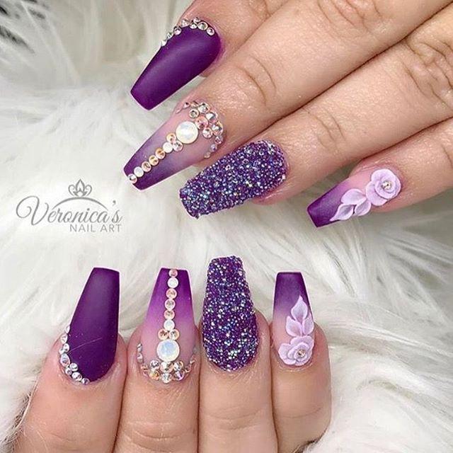 Glam Nails Purple Nail Designs Purple Nail Art Purple Ombre Nails