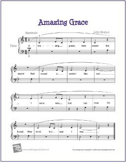 Amazing Grace | Free Sheet Music for Easy Piano - http://makingmusicfun.net/htm/f_printit_free_printable_sheet_music/amazing-grace-easy-piano.htm