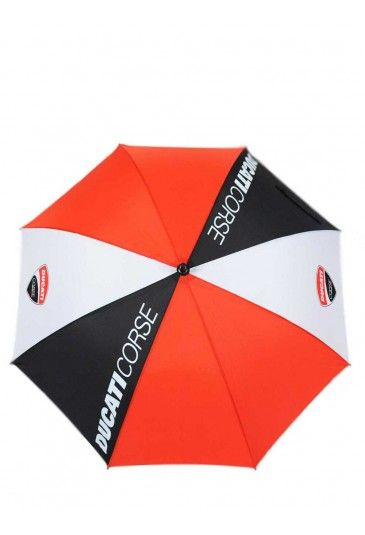 Ducati Corse umbrella to follow two-wheeled Ducati adventures in all kinds of weather. Umbrella inspired by the colours of the motorcycle manufacturer and embellished with the Ducati Corse logos and lettering.