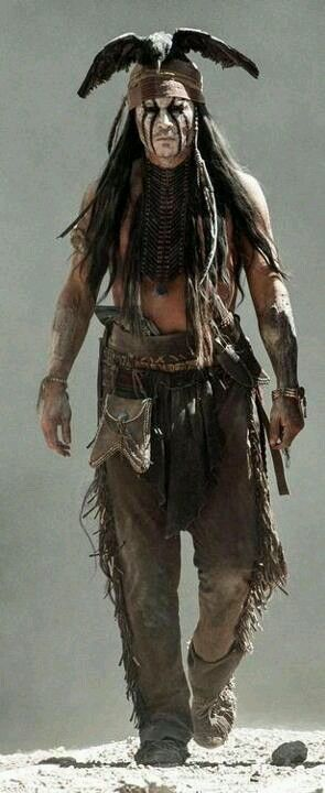 """Johnny Depp in character as """"Tonto"""" on the set of """"The Lone Ranger"""", 2013 release."""