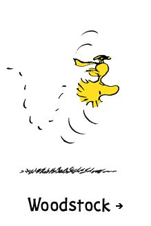 Peanuts, Woodstock - The fluttering, sometimes sputtering, little yellow bird is Snoopy's sidekick, whether it's as faithful mechanic to the World War I Flying Ace, stalwart secretary to the Head Beagle, or root beer drinking buddy. Chirping in a language only Snoopy understands, Woodstock and his feathered friends are never far from Snoopy's doghouse.