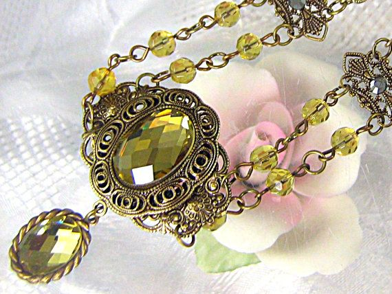 Victorian Style Antiqued Brass Necklace With by ATestOfTime, $30.00Necklaces Pending, Style Antiques, Antiques Brass, Brass Necklaces, Victorian Style