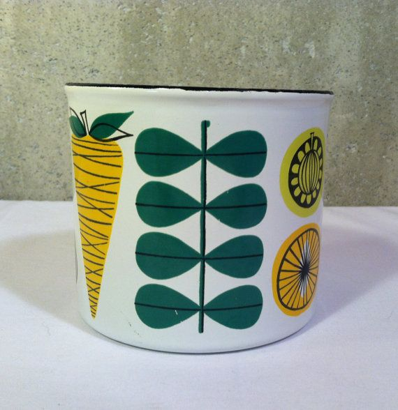 Finel Finland Enamelware Container Vegeta by MostlyMidModern