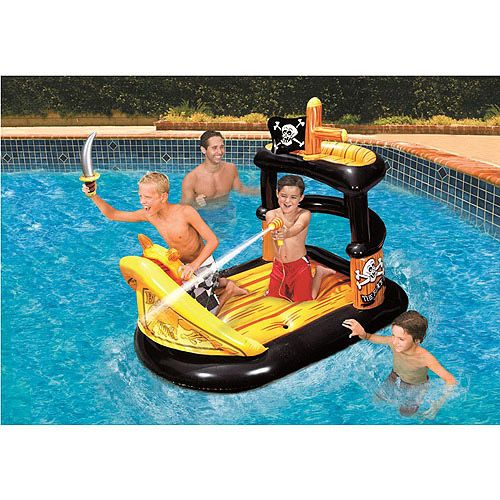 Banzai ahoy matey pirate ship pool raft float pools - Inflatable pirate ship swimming pool ...