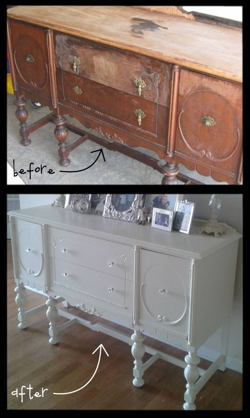 twenty-dollar buffet before & after...so nice seeing beaten up furniture given new life