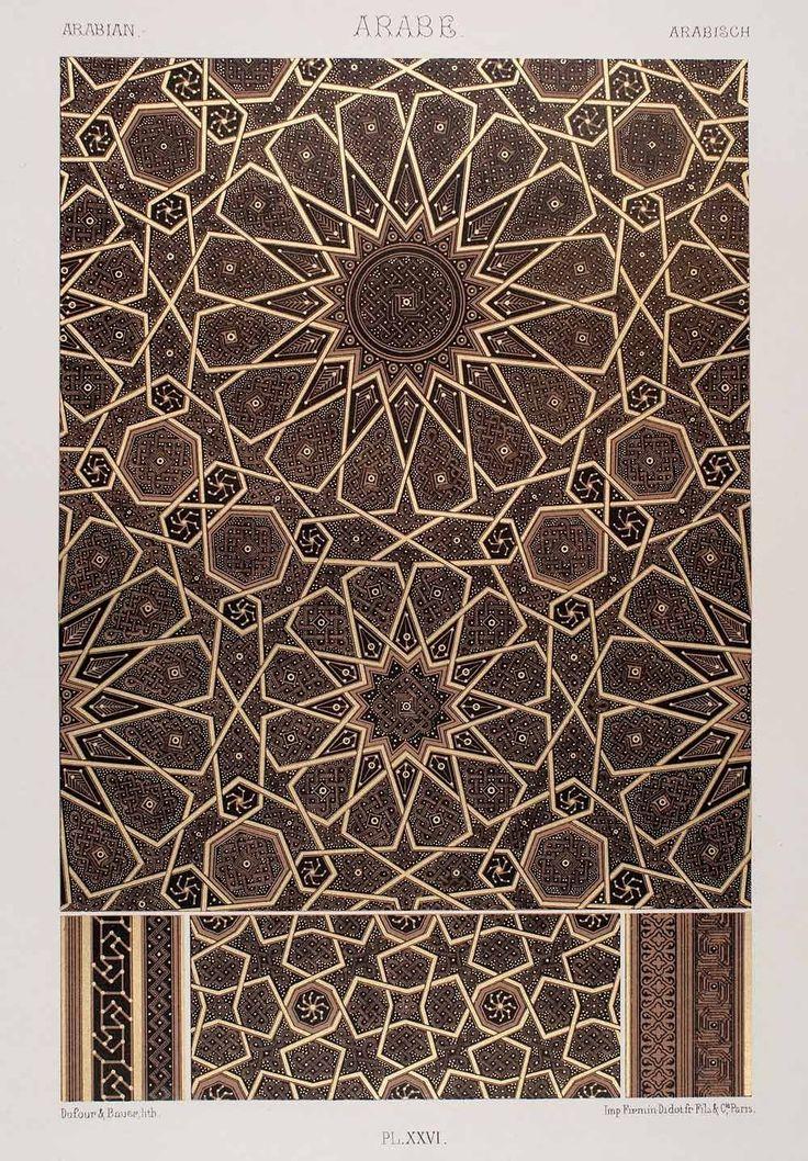 1875 Chromolithograph Geometric Pattern Islamic Art Arabic Design Motif Quran