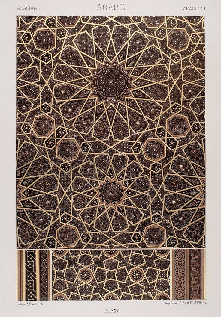 1875 Chromolithograph Geometric Pattern Islamic Art Arabic Design Motif Quran