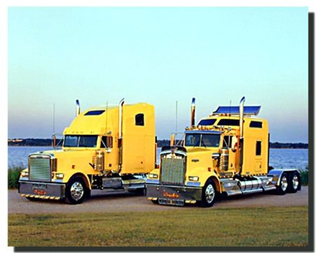 Give your home a stylish touch with this wonderful big rig diesel truck picture art print poster. It captures the image of two yellow big rig diesel truck parked near the ocean which is sure to attract lot of attention and make this wall art focal point of your home. This truck poster with a natural beauty tones will match perfectly with your other wall and décor style.