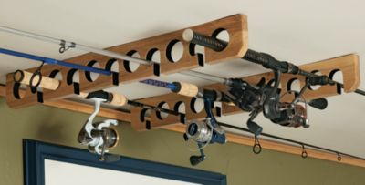 Cabela's Ceiling Rod Rack Sale $9.99 reg $19.99  Make the most of your available storage space with this ceiling rod rack. Made of solid wood construction, the rack is capable of holding up to 11 rod and reel combos. Cutouts are lined with felt to gently cradle your equipment.  Available: Solid wood 11-Rod Rack.