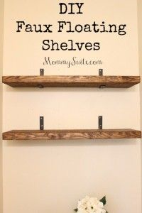 DIY Shelves and Do It Yourself Shelving Ideas - DIY Faux Floating Shelves - Easy Step by Step Shelf Projects for Bedroom, Bathroom, Closet, Wall, Kitchen and Apartment. Floating Units, Rustic Pallet Looks and Simple Storage Plans http://diyjoy.com/diy-shelving-projects