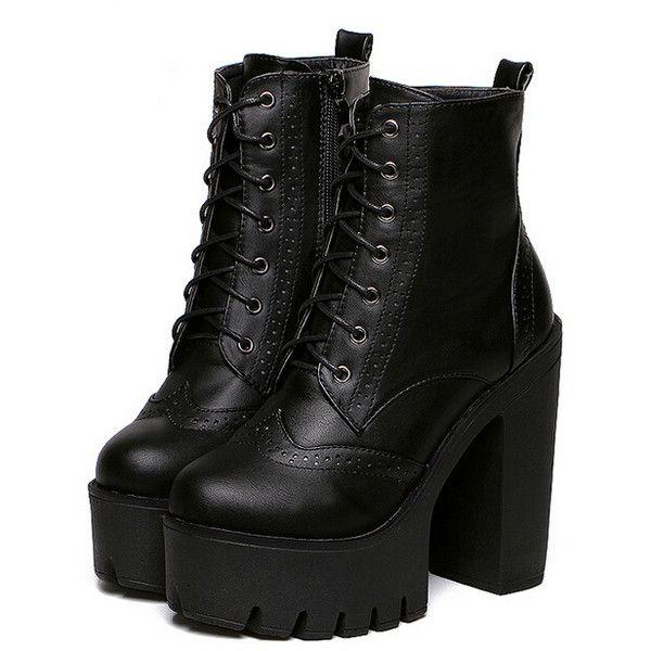 Black Faux Leather PU Chunky Fashion Winter Short PU Almond Toe High heeled Platform Boots, EUR35, EUR36, EUR37, EUR38, EUR39 Black Style: Fashion.