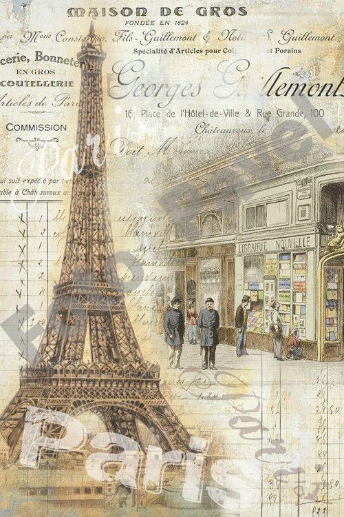 Vintage motiv -  Paříž, Eiffelovka 7