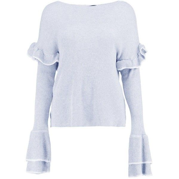 Boohoo Sophie Ruffle Sleeve Fine Knit Jumper ($20) ❤ liked on Polyvore featuring tops, sweaters, party jumpers, knit sweater, turtleneck sweater, marled sweater and sequin jumper