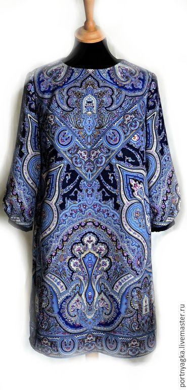 Купить Платье Синяя птица (из платка) - синий, орнамент, русский стиль, русские традиции