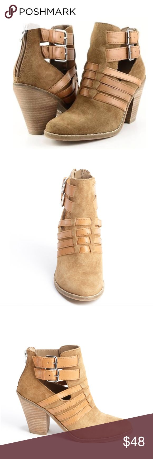 DV Dolce Vita 9M suede leather Caitlynn ankle boot DV by Dolce Vita women's cognac suede leather accent 'Caitlynn' ankle boots  New without box  * DV By Dolce Vita * Smooth Suede Upper * Rounded Toe Shape * Leather Strap Accents With Rear Zipper Closure; Double Buckle Detail On Side * Leather Lining And Sole * 4¼'' Block Heel * Shaft Measures 4'' Tall And 12½'' Around Widest Point * All Measurements Are Approximate * China * Suede / Leather DV by Dolce Vita Shoes Ankle Boots & Booties