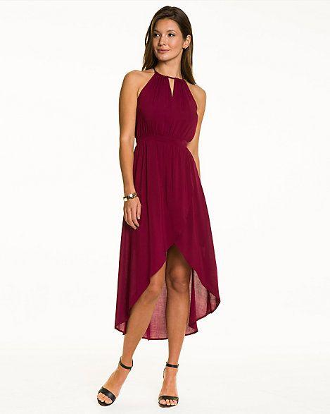 Challis Halter High-Low Dress