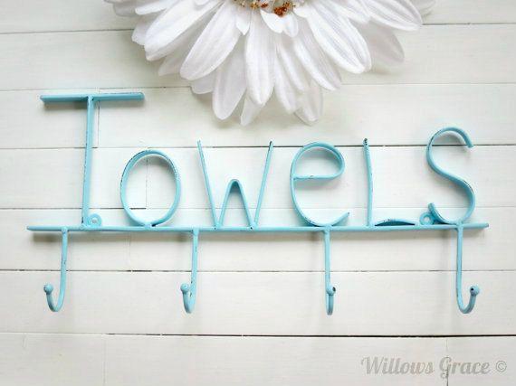 Aquamarine Pool Sign / Towel Holder / Pool Decor / Beach Decor / Towel Hooks / Bathroom Accessories / Pool Towel Rack / Pool Towel Hook on Etsy, $27.00