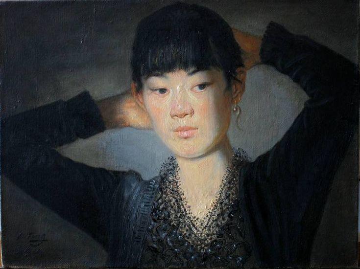 """Saatchi Art Artist Liu Ting; Painting, """"Portrait of morning makeup woman"""" #art"""