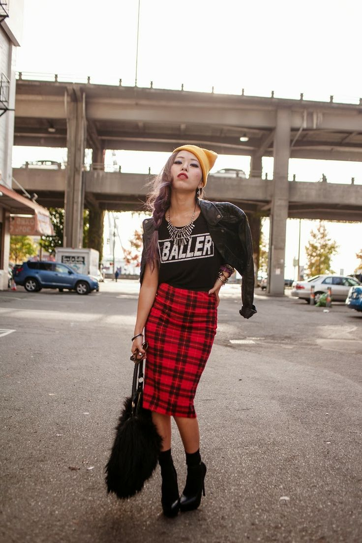 Quirky, urban, and so rad–Aika, the blogger behind Aika's Love Closetcombines leather and plaid in the coolest way to style the DEENY (don'...