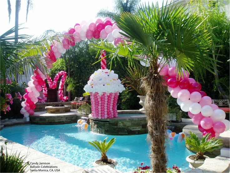 we adore this pink and white pool party decor you can 39 t. Black Bedroom Furniture Sets. Home Design Ideas