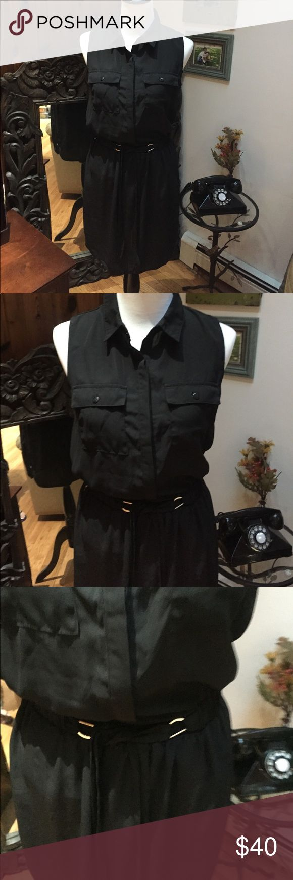 Interi sleeveless black dress tie belt INTERI sleeveless black dress tie belt  in size M with white on the side from the waist down. This is brand new, 65% polyester and 35% Rayon INTERI Dresses