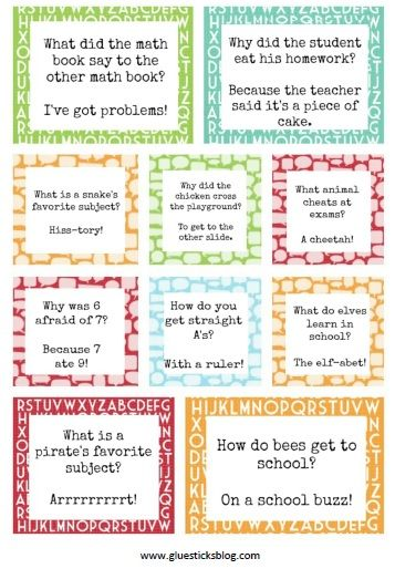 Printable Lunch Box Jokes OR jokes to tell little ones on a photo shoot!