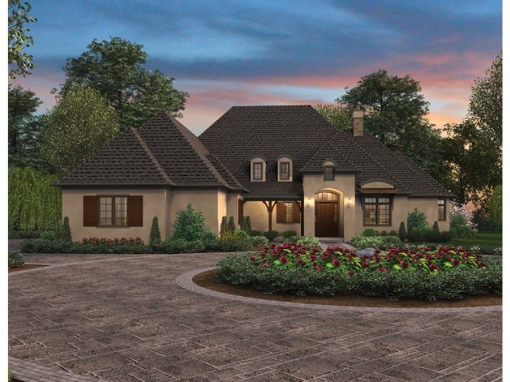 French Country House Plan with 2930 Square Feet and 4 Bedrooms from Dream Home Source | House Plan Code DHSW076449
