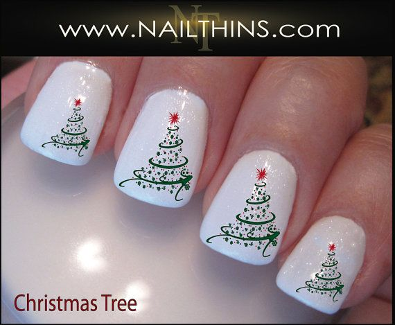 Christmas Swirl Nail Decals Holiday Tree Nail Design, Nail Art