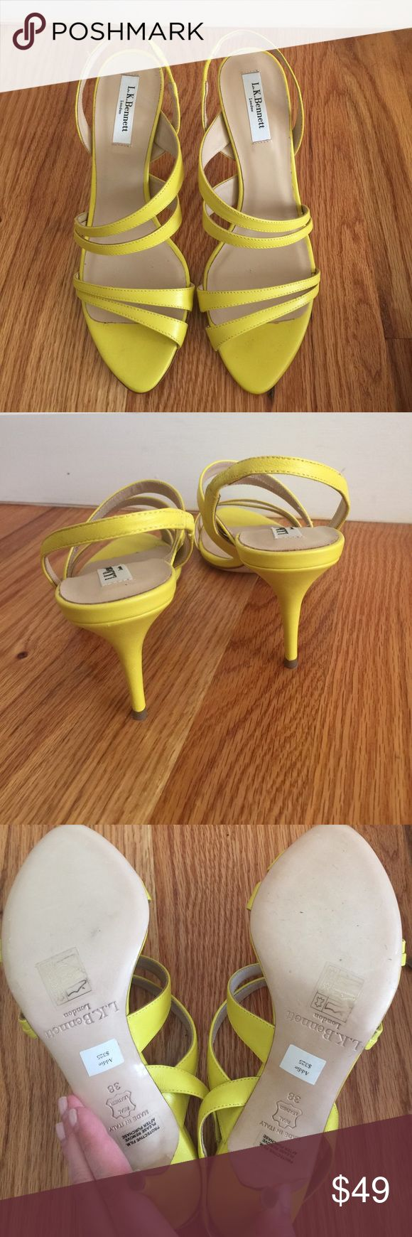 "New LK Bennett ""Addie"" strappy heels! Sz 38 & 40 Beautiful bright sunny yellow strappy leather Addie sandal heels by LK Bennett. Never worn! Size 40 best correlates with a size 9 and size 38 best correlates with a 7 so listing as such. Please know your Euro sizing ❤ Originally $325. LK Bennett Shoes Heels"