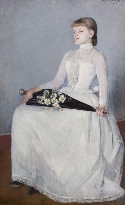 ZE SPACERU (1889) by Olga Boznańska | Impressionism | Oil on canvas | 161,5 x 100 cm | Kraków National Museum, Poland