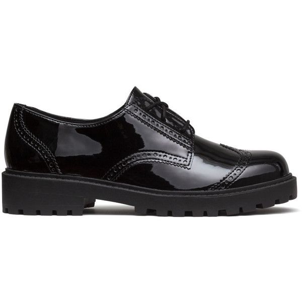 H&M Patent brogues (295 DKK) ❤ liked on Polyvore featuring shoes, oxfords, oxford, black, black patent shoes, platform brogues, brogue oxford, black patent leather oxfords and platform shoes