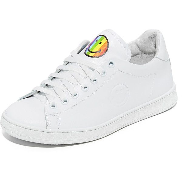 Joshua Sanders Rainbow Smile Sneakers (900 PEN) found on Polyvore featuring women's fashion, shoes, sneakers, white, leather lace up sneakers, lace up shoes, white shoes, lacing sneakers and lace up sneakers
