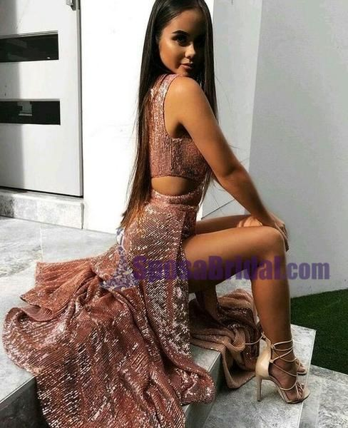 e78c9d589f Sexy Sequin Sparkly Simple Rose Gold and Black Split Fashion Popular Prom  Dresses